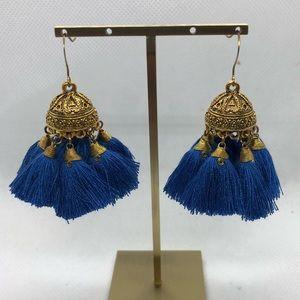 Domed and Tasseled Earrings